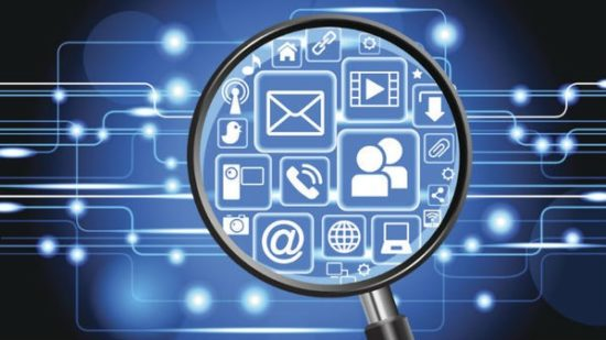 magnifying glass on icons ediscovery