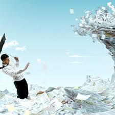 man managing documents
