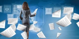 woman managing documents