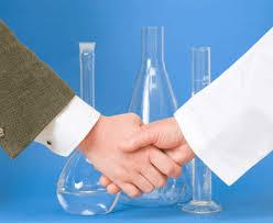 scientists hand shake